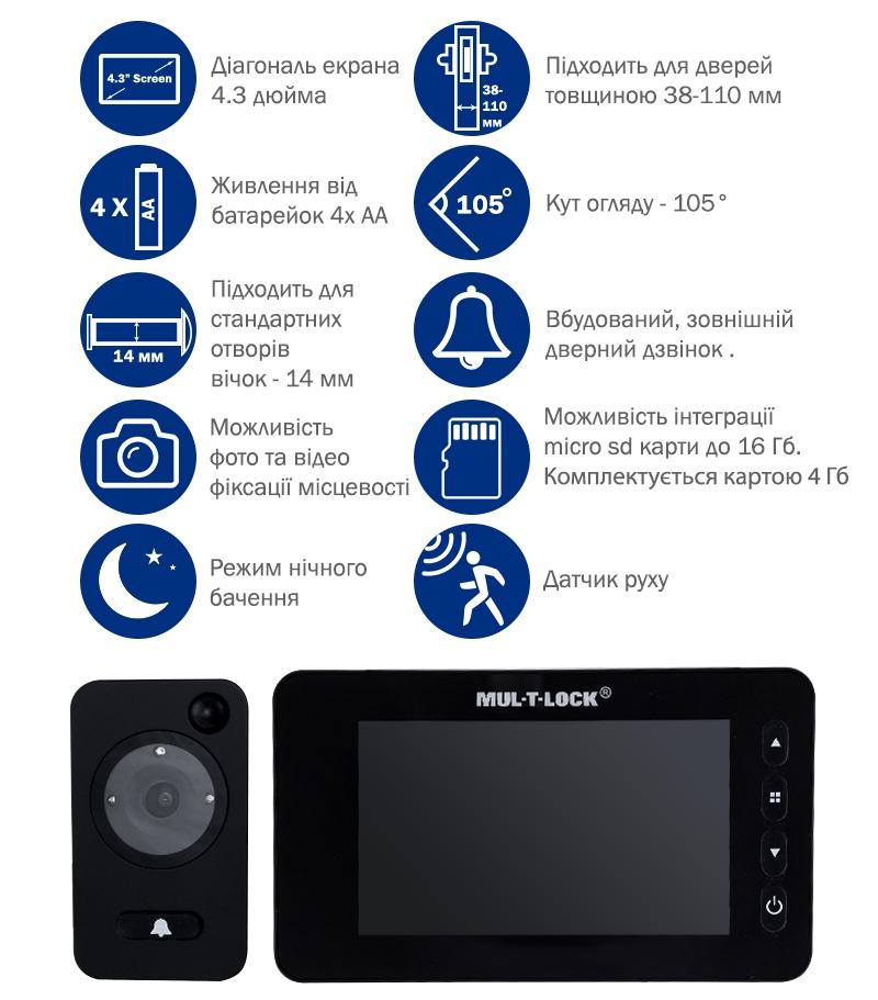 Характеристики відеовічка MUL-T-LOCK GOTU